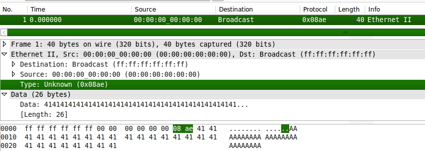 The packet shown in wireshark